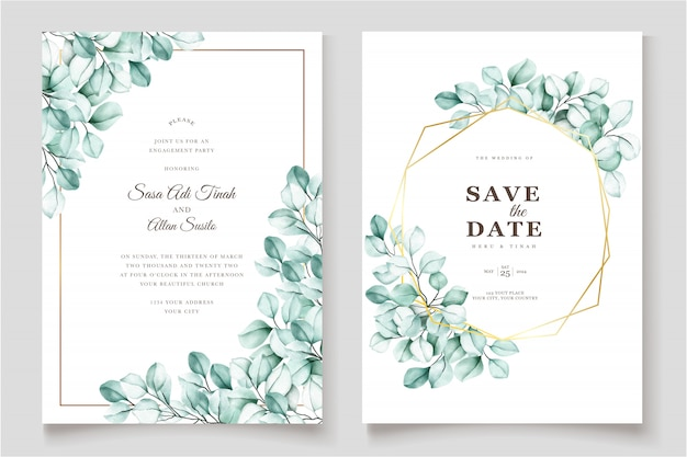 Elegant watercolor eucalyptus invitation card Premium Vector