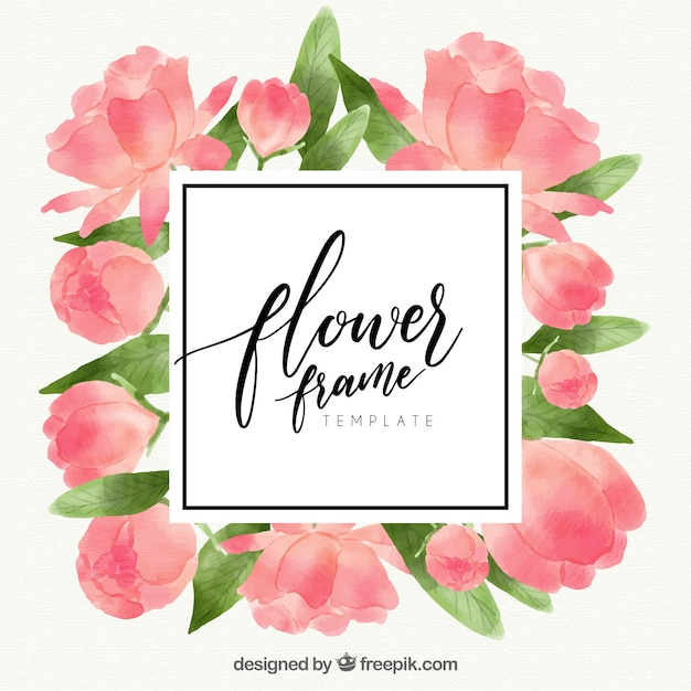 Elegant watercolor floral frame with roses Vector | Free Download
