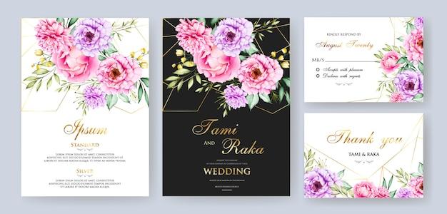 Elegant watercolor floral and leaves wedding card termplate Premium Vector