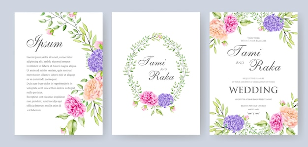 Elegant watercolor floral and leaves wedding card termplate Premium Vector