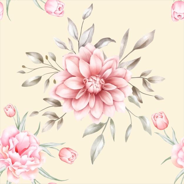 우아한 수채화 꽃 원활한 패턴 무료 벡터