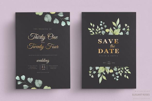 Carta di nozze floreale dell'acquerello elegante Vettore gratuito