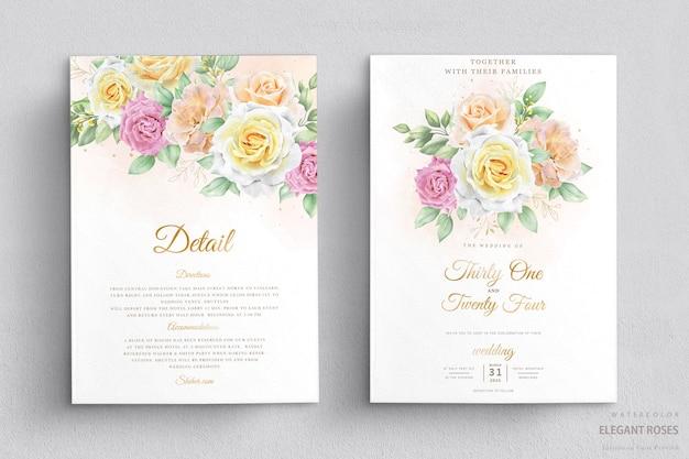 Set di carte invito matrimonio floreale acquerello elegante Vettore gratuito