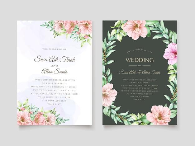 Elegante design floreale dell'acquerello invito a nozze Vettore gratuito