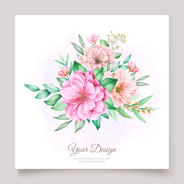 Elegant watercolor floral wedding invitation design Premium Vector