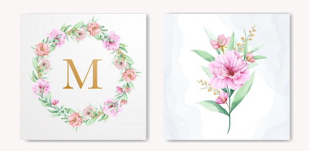 Elegant watercolor floral wedding invitation design Premium Vector