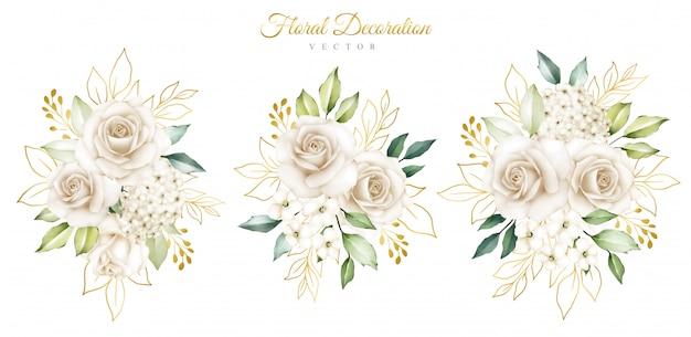 Элегантные акварельные цветочные композиции Premium векторы