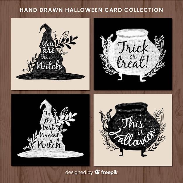 Elegant watercolor halloween card collection Free Vector