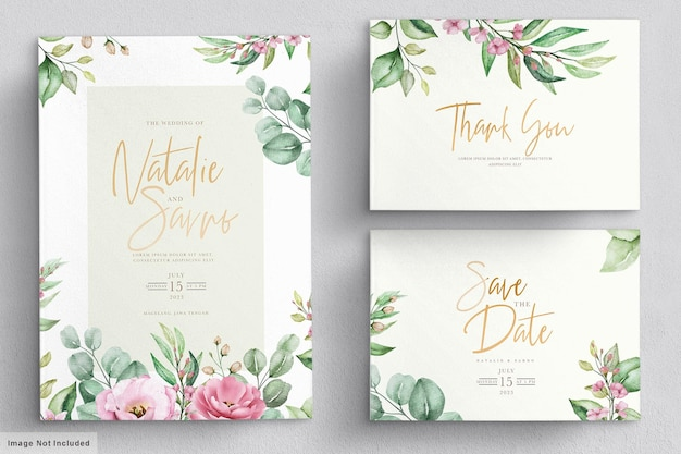 Elegant watercolor hand drawn floral wedding invitation card Premium Vector