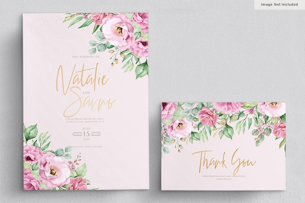 Elegant watercolor hand drawn floral wedding invitation card Free Vector