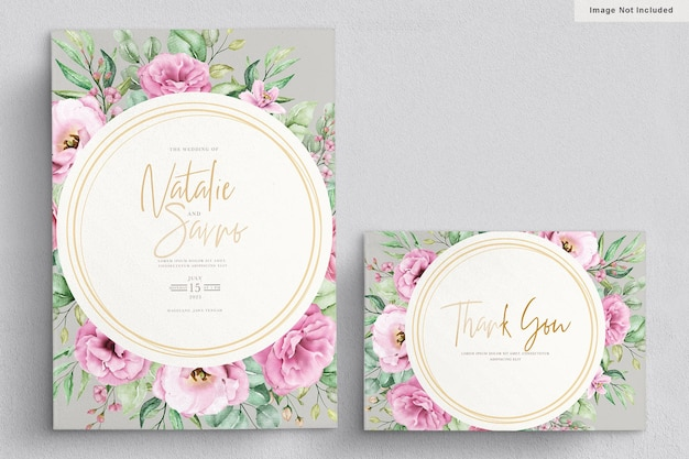 Elegant watercolor hand drawn floral wedding invitation card Free Vector
