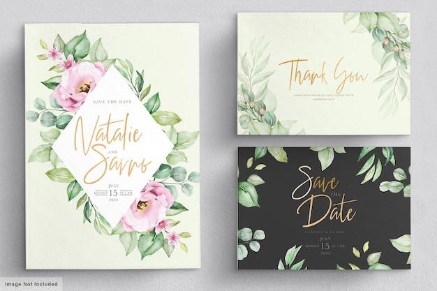 Elegant watercolor hand drawn floral wedding invitation card Premium Vector