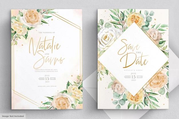 Элегантная акварель рисованной цветочные свадебные приглашения Бесплатные векторы