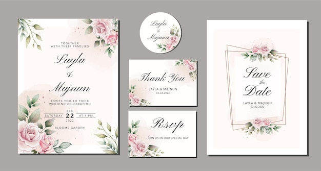 Elegant watercolor hand drawn floral wedding invitation Premium Vector