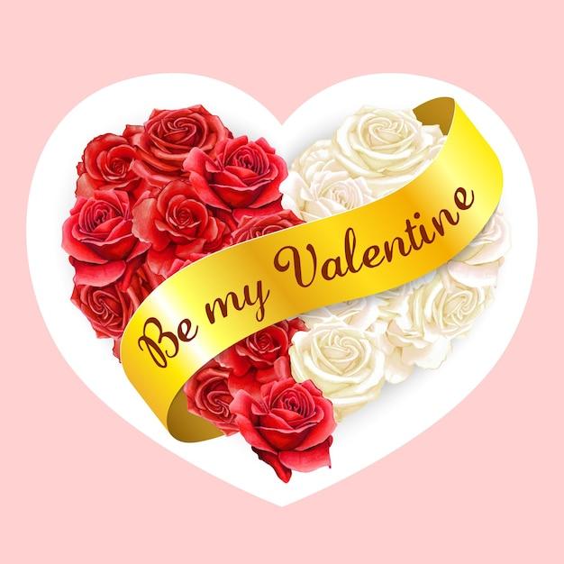 黄金のバレンタインリボンとエレガントな水彩ハートローズ枕 Premiumベクター