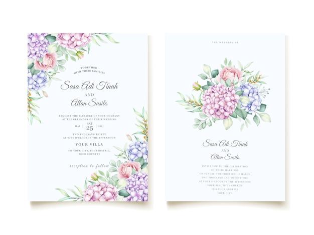 Элегантная акварель гортензия цветочные свадебные приглашения набор карт Бесплатные векторы