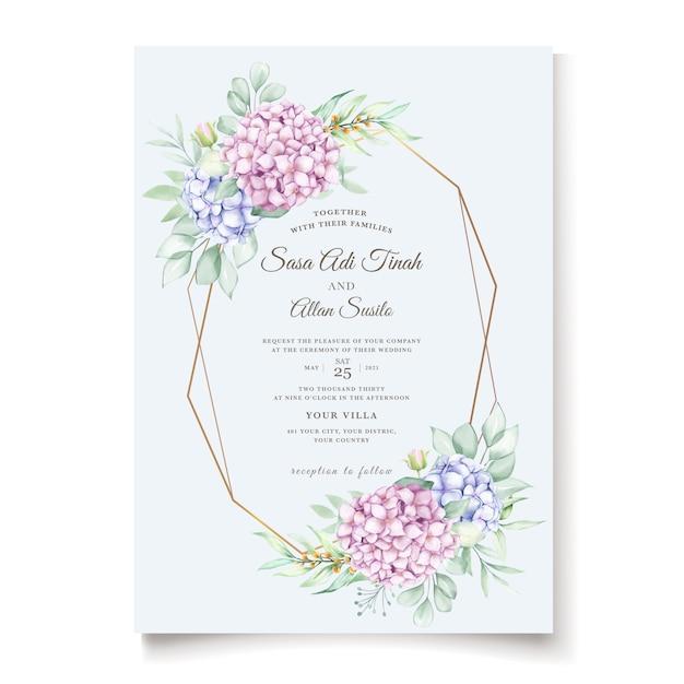 エレガントな水彩画のアジサイの花の結婚式の招待カードセット 無料ベクター