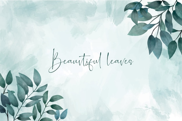 Elegant watercolor leaves background Free Vector