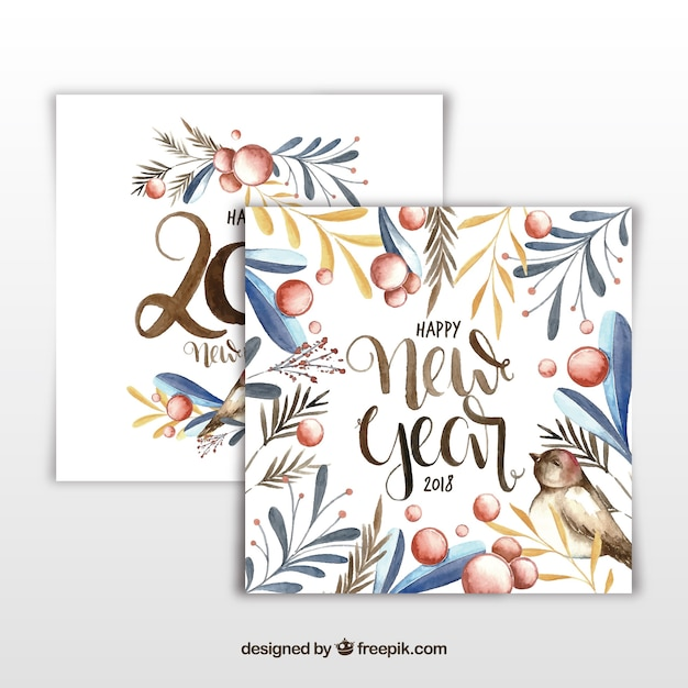 Elegant watercolor new year 2018 cards Vector | Free Download
