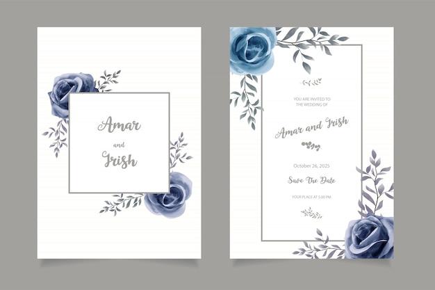 Elegant watercolor wedding invitation card template Premium Vector