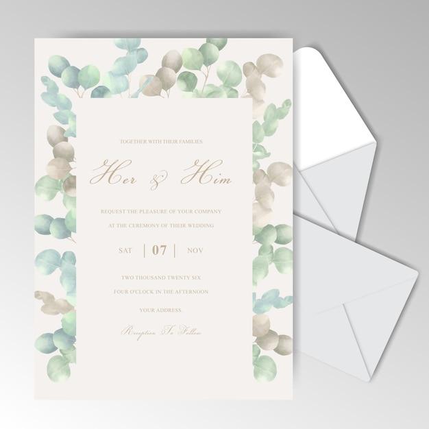 Elegant watercolor wedding invitation cards with beautiful eucalyptus Premium Vector