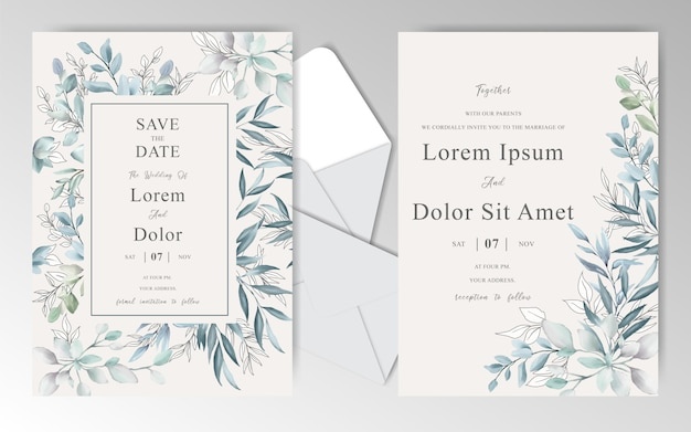 Elegant watercolor wedding invitation cards with beautiful leaves Premium Vector