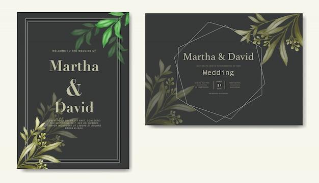 Elegant watercolor wedding invitation template Premium Vector