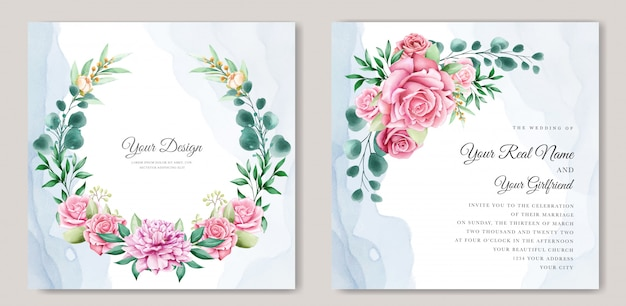 Elegant watercolor wedding invitation template Free Vector