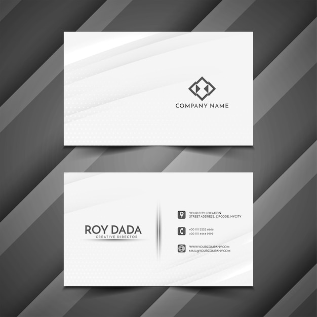 Elegant wave style business card template vector Free Vector