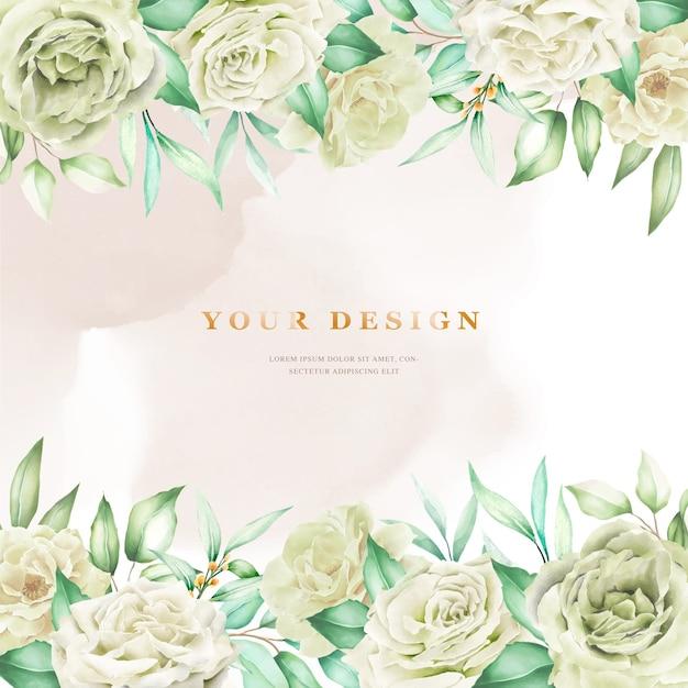 Элегантный свадебный фон с белыми розами Бесплатные векторы
