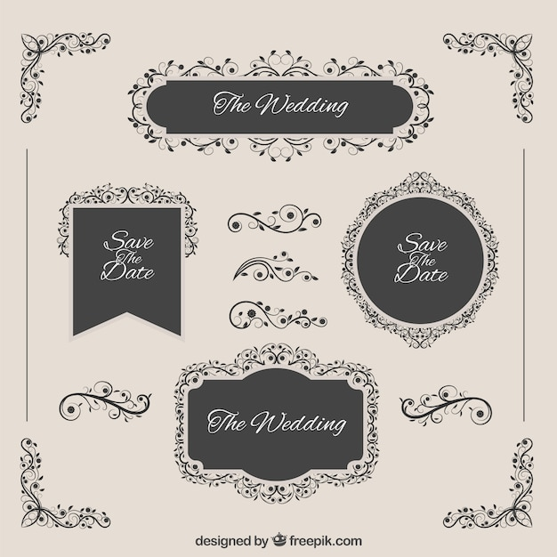 Elegant wedding badges  Premium Vector