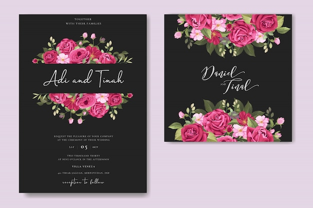 elegant wedding card design with beautiful roses wreath