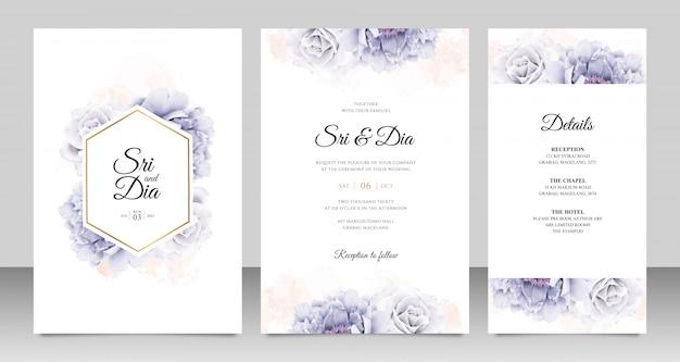 Elegant wedding card set with peony watercolor Premium Vector