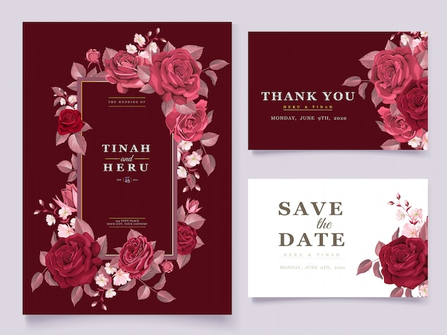 Elegant wedding card template set with maroon floral and leaves Free Vector