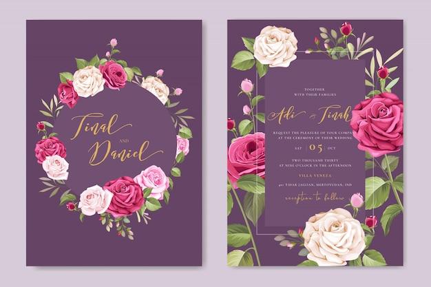 Elegant wedding card template with beautiful roses wreath Premium Vector