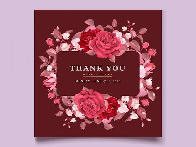 적갈색 꽃과 잎으로 우아한 웨딩 카드 템플릿 무료 벡터