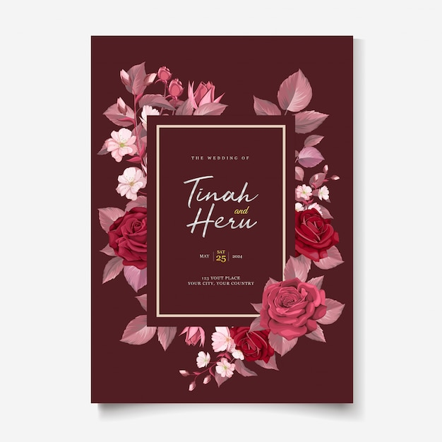 Elegant wedding card template with maroon floral and leaves Free Vector