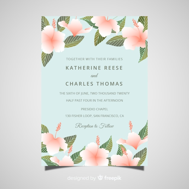 elegant wedding card template with realistic flowers vector free