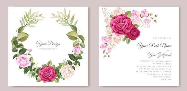 아름다운 꽃과 잎 템플릿 우아한 웨딩 카드 무료 벡터