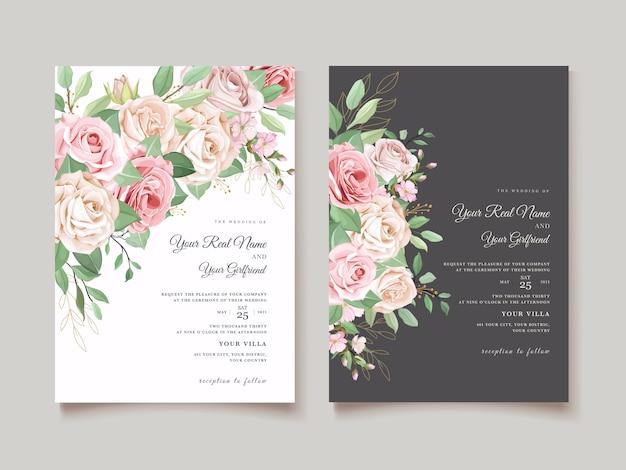 Элегантная свадебная открытка с красивым цветочным узором и листьями Бесплатные векторы
