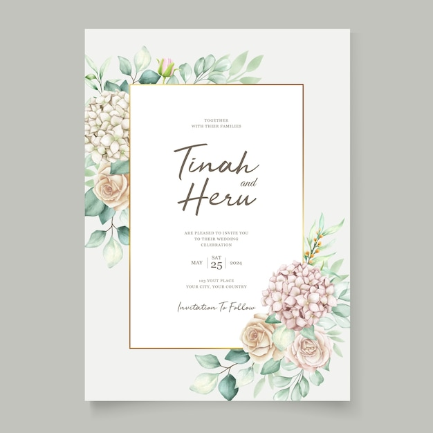 Elegant wedding card with beautiful floral and leaves template Free Vector