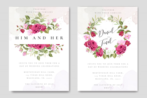 Elegant wedding card with floral and leaves template Premium Vector