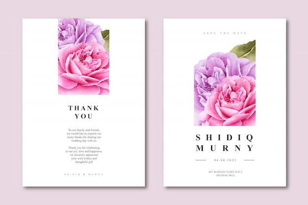 Elegant wedding card with floral on the square Premium Vector