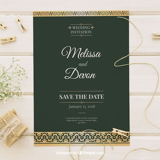elegant wedding card with gold decoration vector free download