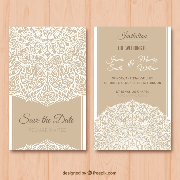Elegant Wedding Card With Mandala Design Vector Free Download