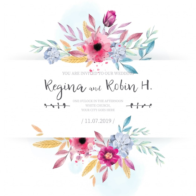 Elegant Wedding Card with Watercolor Flowers Free Vector