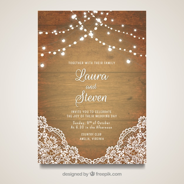 Elegant wedding card with wooden design Free Vector