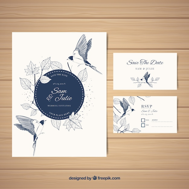 Elegant Wedding Card Vector Free Download