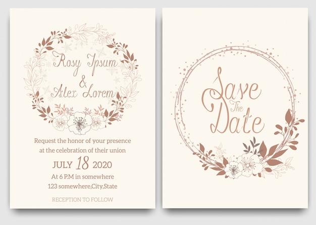 Elegant wedding cards consist of various kinds of flowers. Premium Vector