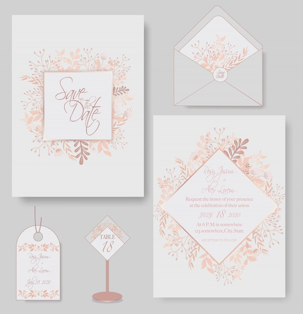 Elegant wedding cards consist of various kinds of flowers. Premium Vector